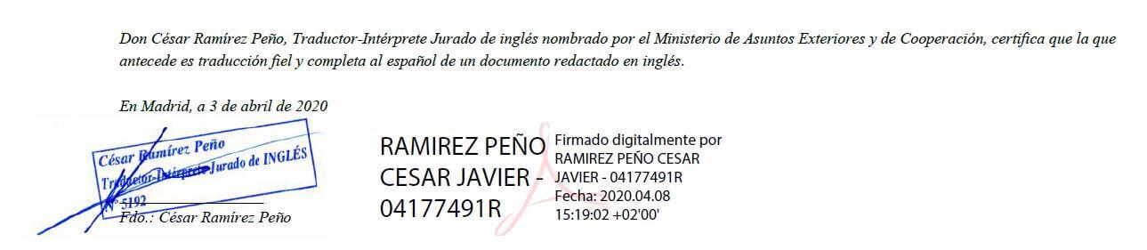 Bloque de firma en traducción jurada