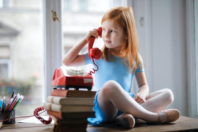 Little girl on the phone